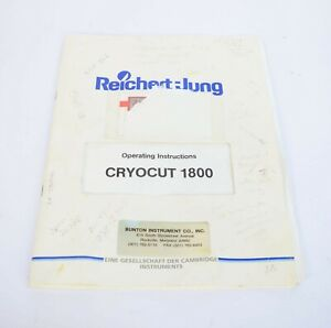 Reichert jung Cryocut 1800 Cryostat Operating Instructions User Manual Leica