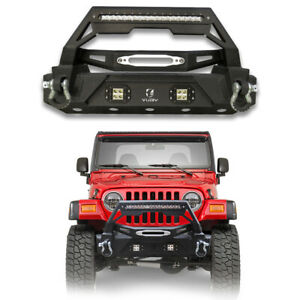 For 1997 2006 Jeep Wrangler Tj Classic Front Bumper With Led Lights winch Plate