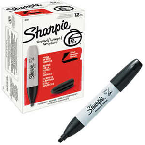 Sharpie 38201 Permanent Markers Chisel Tip Black 12 Count