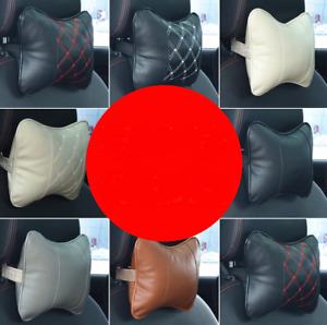 2pcs Leather Car Seat Pillow Breathable Head Neck Rest Cushion Headrest 7 Color
