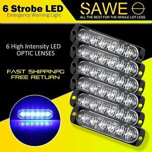 6 X Blue 6 Led Car Truck Emergency Beacon Warning Hazard Flash Strobe Light