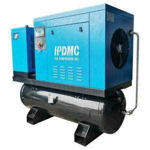 230v 3phase Rotary Screw Air Compressor With 80 Gallon Asme Air Tank Air Dryer