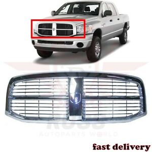 New Front Grill Grille Assembly All Chrome Fits 2006 2009 Dodge Ram 1500 Pickup