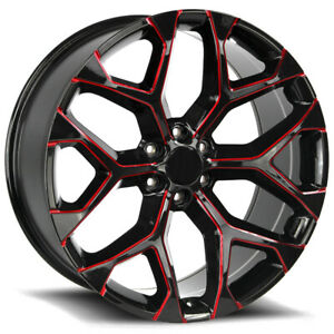 4 Replica 176 Gm Snowflake 22x9 6x5 5 31mm Black Milled Red Wheels Rims 22 Inch
