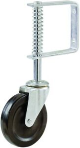 Spring Loaded Gate Caster Rubber Wheel 125 lb Wood Or Chain Link Fences 4 In