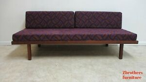 Vtg Scandinavian Walnut Day Bed Sofa Couch Custom Ventura Fabric Robert Lester A