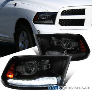 For 09 19 Ram 1500 2500 Smoke Blk Switchback Led Sequential Projector Headlights