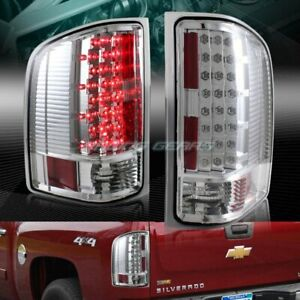 Chrome Clear Led Rear Tail Lights Lamp Fit 07 14 Chevy Silverado 1500 2500 3500