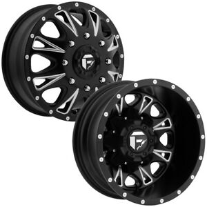 Set Of 4 Fuel D513 Throttle Dually 17 Inch 8x210 Black Milled Wheels Rims