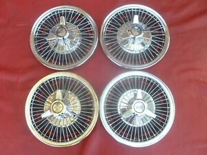Vintage Nos 1964 66 Chevy Ii Nova 3 Bar Wire Spinner Hubcaps Wheel Covers