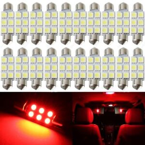 20 X Red 41mm 42mm 6smd 5050 Festoon Dome Map Led Light 578 211 2 212 2 Tool