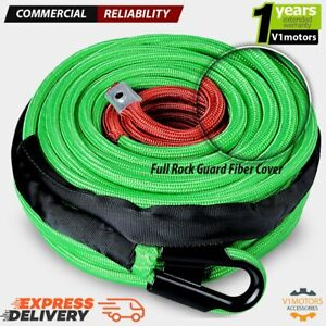 95 X 3 8 22000 Lb Synthetic Winch Line Cable Rope Green W Protective Fiber