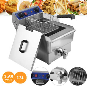 13l Electric Deep Fryer Commercial Restaurant With Frying Basket Lid 1650w Usa