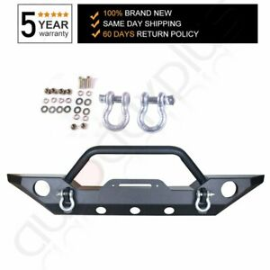 Rock Crawler Front Bumper With Fog Light Holes Winch Plate For 07 18 Wrangler Jk
