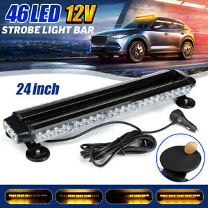 Amber Rooftop Led Warning Strobe Light Bar W Magnetic Base Double Side Flashing