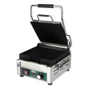 Waring Wpg150 Single Commercial Panini Press W Cast Iron Grooved Plates 120v