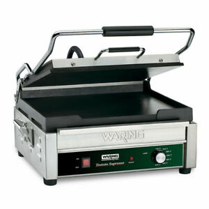 Waring Wfg275 Single Commercial Panini Press W Cast Iron Smooth Plates 120v