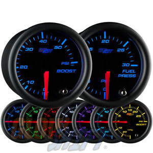 Glowshift 52mm Black 7 Color 60psi Turbo Boost 30psi Fuel Pressure Gauge Set
