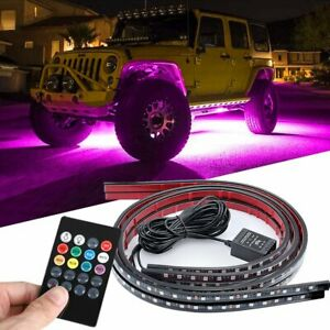 Rgb 48led Strip Underglow Under Car Tube Underbody System Neon Light Kits 4pcs
