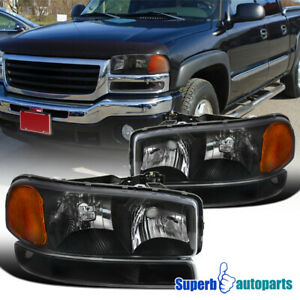 For 1999 2006 Gmc Sierra 2000 2006 Yukon Xl Black Head Lamps Signal Lights