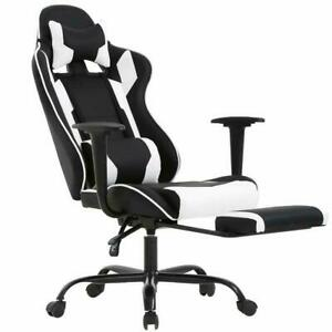 Game Chair Office Pu Leather Chair Massage Chair Adjustable 360 Black White