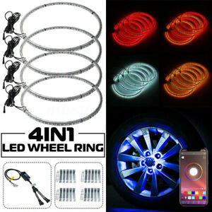 4pcs 17 648led Rgb 5050 Car Wheel Ring Lights Rim Dual Side Strip App Control
