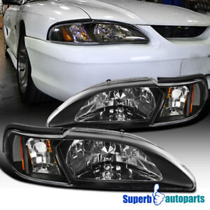 For 1994 1998 Ford Mustang Head Lamps Corner Lights Black Replacement Pair
