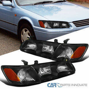 For Toyota 00 01 Camry Black Headlights Clear Lens Corner Turn Signal Lamps Pair
