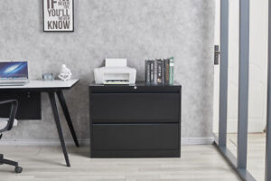 Metal Office Lateral File Storage Cabinet Lateral File Cabinet W 2 Drawers Lock