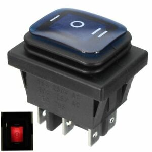 3 Position 6pin Waterproof Rocker Switch With Lamp Light Dsdt On off on Car