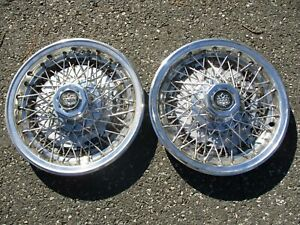 Genuine Dillinger Gaines Lincoln Limo Wire Spoke 15 Inch Hubcaps Wheel Covers