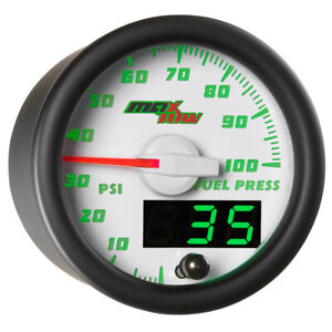 52mm White Maxtow Fuel Pressure 0 100 Psi Gauge W Green Digital Analog Display