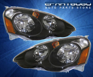 For 02 04 Acura Rsx Dc5 Jdm Replacement Headlights Lamps Left right Black Amber