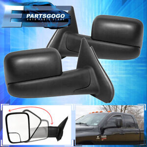 For 02 08 Dodge Ram 1500 Black Extendable Manual Telescoping Towing Mirror Set