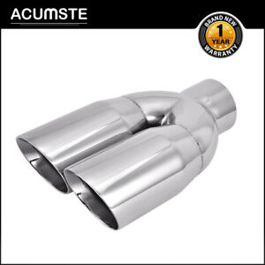 Dual Double Wall Stainless Steel Exhaust Tip 2 5 Inlet 3 5 Outlet 9 5 Length