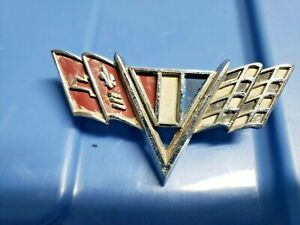 Vintage Chevrolet Checkered Flag Car Emblem