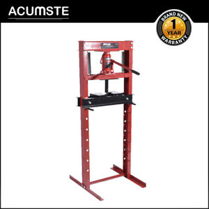 Hydraulic Shop Press Floor Shop Equipment 12 Ton Jack Stand H Frame Red Steel