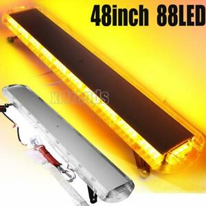 48 88 Led Emergency Strobe Light Bar Amber Warning Tow Truck Snow Plow Us Lamp