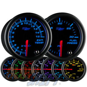 Glowshift 52mm Black 7 Color 1500f Egt Pyrometer 30psi Fuel Pressure Gauge Set