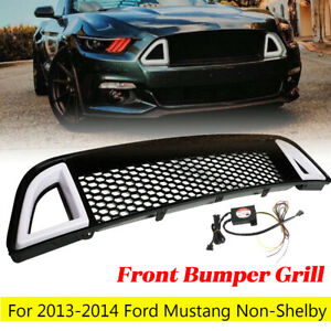 Front Bumper Upper Led Grille Grill Black For Ford Mustang Non shelby 2013 2014