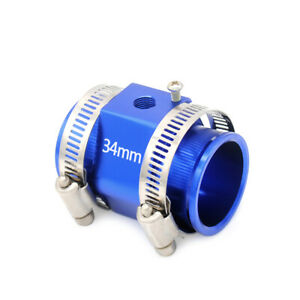 Water Temperature Sensor Adapter Joint Pipe With Anodized Finish 34mm Blue
