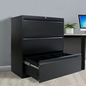 Metal Lateral File Storage Cabinet W 3 Lockable Drawers And Anti tilt Structure