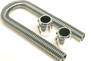 36 Universal Chrome Stainless Steel Radiator Hose Kit With Aluminum Caps Sbc Bb
