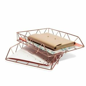 Pack Of 2 Stackable Paper Tray Metal Desk Organizer Rose Gold For Documents Mail