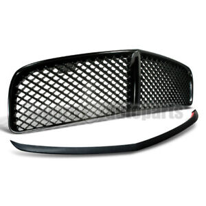 For 2005 2010 Dodge Charger Abs Mesh Front Hood Grille Bumper Lip Spoiler Black