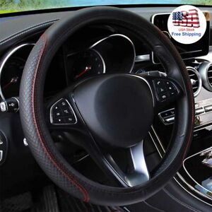 Universal Black Red Anti Slip Car Steering Wheel Cover For Honda Accord Jeep Usa