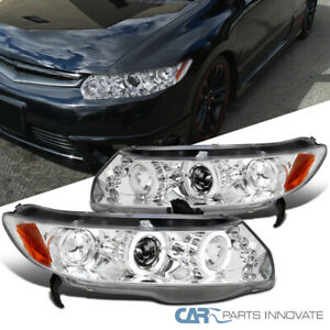 For 06 11 Honda Civic 2dr Coupe Led Drl Dual Halo Projector Headlights Lamps