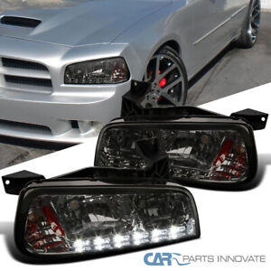 For 06 10 Dodge Charger Smoke Smd Led Drl Strip Headlights Corner Signal Lamps
