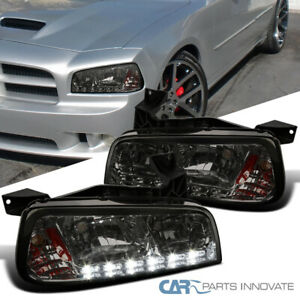 For 06 10 Dodge Charger Smoke Smd Led Strip Headlights Corner Signal Lamps Pair