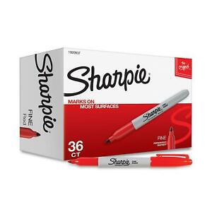 Original Sharpie Permanent Markers Fine Point Red 36 pack High Quality